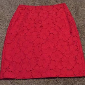 Banana Republic size 0 red floral pencil skirt
